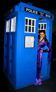 My sister (in a medieval dress) posing with the TARDIS