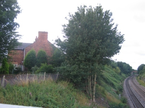 A photo of our house, taken from the railway bridge