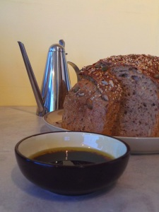 Rustic bread ready to dip in olive oil and balsamic glaze...