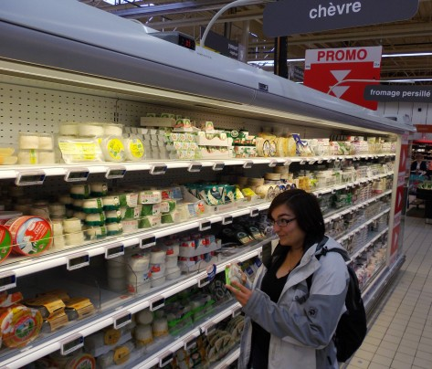 The cheese aisle at a French supermarket. That's a quarter of it. And all so cheap!