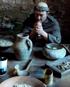 A medieval monk's dinner at Rufford Abbey. With one addition. I didn't put it there.