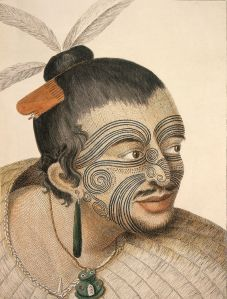 Maori Chief with Facial Tattoo from the 18th Century