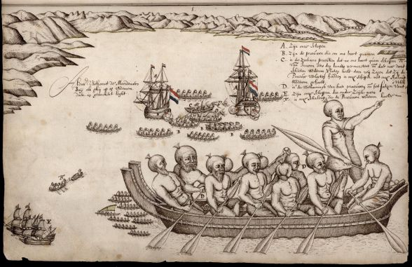 """A drawing one of Tasman's crew did of """"Murderers' Bay"""""""
