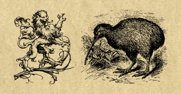 Lion vs. Kiwi, the National Animals of England and New Zealand