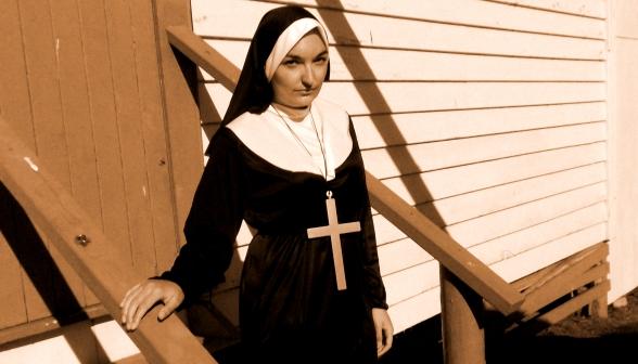 Abigail Simpson as a nun in a LARP