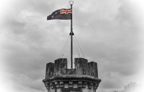 larnach castle tower new zealand flag